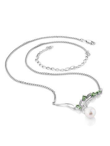 Refined Silver Pearl Necklace With Prasiolite, image , picture 3