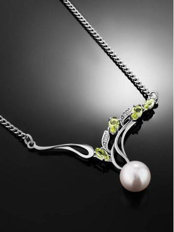 Refined Silver Pearl Necklace With Prasiolite, image , picture 2