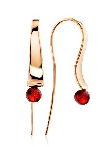 Designer Gilded Silver Fish Hook Earrings With Amber The Palazzo, image