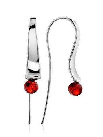 Stunning Silver Hook Earrings With Amber The Palazzo, image