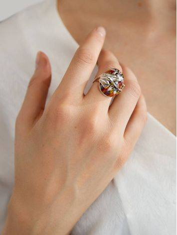 Murano Glass Cocktail Ring With Silver Frog Detail, Ring Size: 6.5 / 17, image , picture 3
