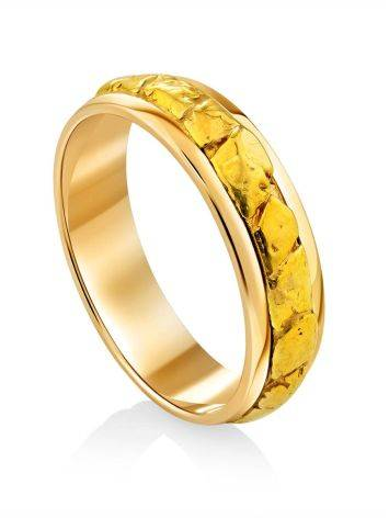 Wedding Band Ring With 24K Gold Finish The Nugget, Ring Size: 6.5 / 17, image