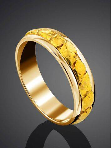 Wedding Band Ring With 24K Gold Finish The Nugget, Ring Size: 6.5 / 17, image , picture 2