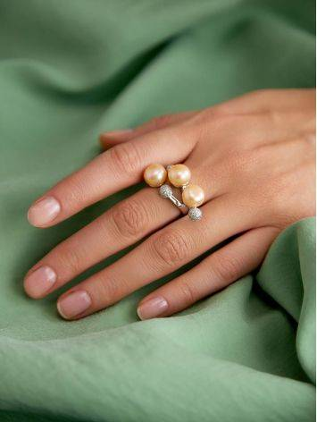 Designer Silver Pearl Adjustable Ring, Ring Size: 6.5 / 17, image , picture 3