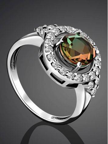 Chic Silver Ring With Chameleon Color Quartz, Ring Size: 7 / 17.5, image , picture 2