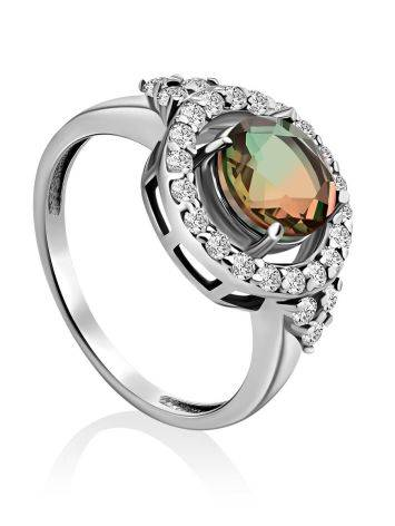 Chic Silver Ring With Chameleon Color Quartz, Ring Size: 7 / 17.5, image