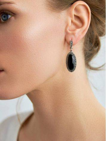 Stunning Black Onyx Dangle Earrings The Lace, image , picture 3