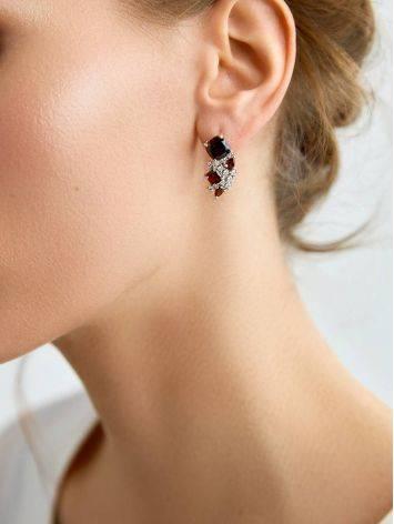 Ultra Feminine Silver Garnet Earrings, image , picture 3