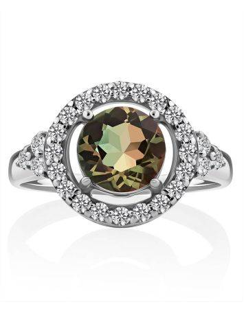 Chic Silver Ring With Chameleon Color Quartz, Ring Size: 7 / 17.5, image , picture 3