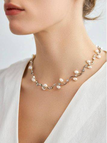 Refined Silver Necklace With Pearl And Crystals, image , picture 3