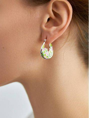 Bright Mix Color Enamel Hoop Earrings, image , picture 3