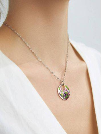 Amazing Silver Enamel Pendant With Crystals, image , picture 3