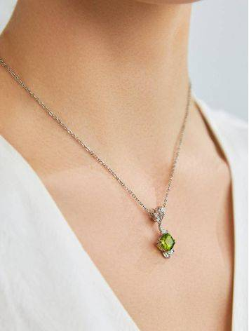 Luminous Silver Pendant With Chrysolite And Crystals, image , picture 3