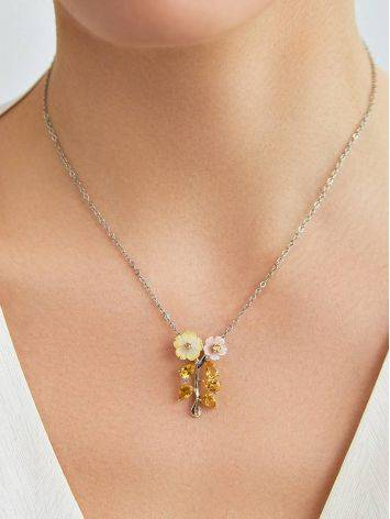 Floral Design Silver Pendant With Nacre And Citrine, image , picture 3
