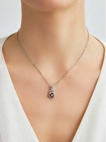 Floral Design Silver Garnet Pendant, image , picture 3