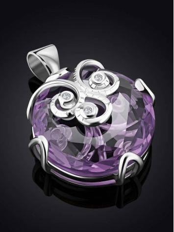 Silver Pendant With Dazzling Violet Crystal, image , picture 2