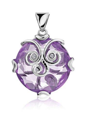 Silver Pendant With Dazzling Violet Crystal, image