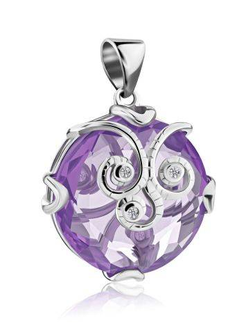 Silver Pendant With Dazzling Violet Crystal, image , picture 3
