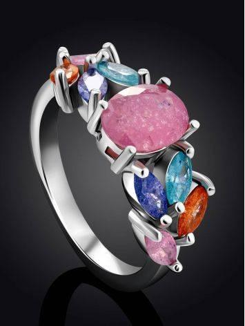 Chic Multicolor Sugar Quartz Ring, Ring Size: 7 / 17.5, image , picture 2