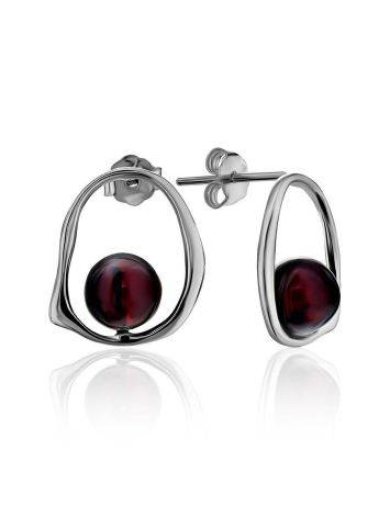 Designer Silver Stud Earrings With Natural Amber The Palazzo, image