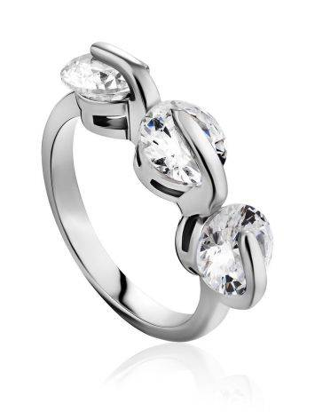 Chic Silver Crystal Ring, Ring Size: 6 / 16.5, image