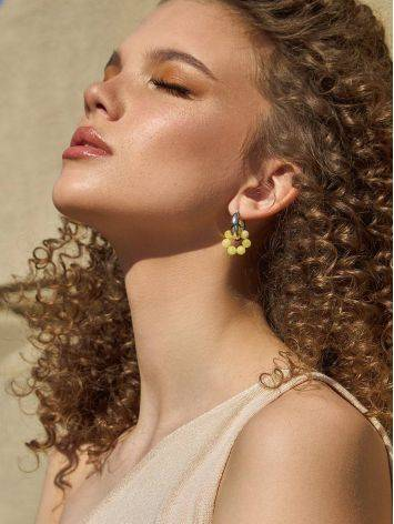 Boho Chic Silver Hoops With Honey Amber The Palazzo, image , picture 3