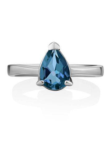 Silver Ring With Pear Shaped Topaz Swiss Blue, Ring Size: 8 / 18, image , picture 3