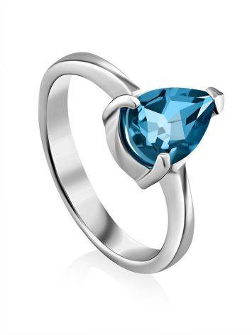 Silver Ring With Pear Shaped Topaz Swiss Blue, Ring Size: 8 / 18, image