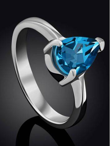 Silver Ring With Pear Shaped Topaz Swiss Blue, Ring Size: 8 / 18, image , picture 2