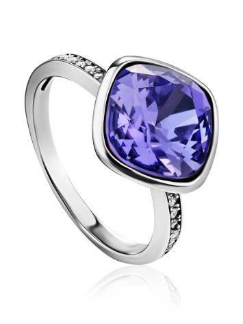 Classy Silver Crystal Channel Set Ring, Ring Size: 9 / 19, image