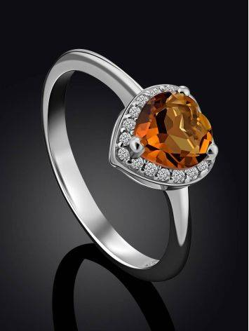 Crystal Heart Detail Ring, Ring Size: 8 / 18, image , picture 2
