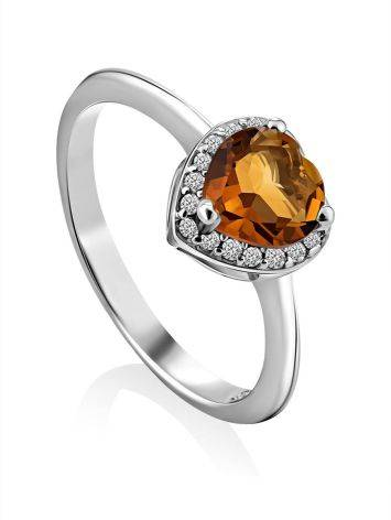 Crystal Heart Detail Ring, Ring Size: 8 / 18, image