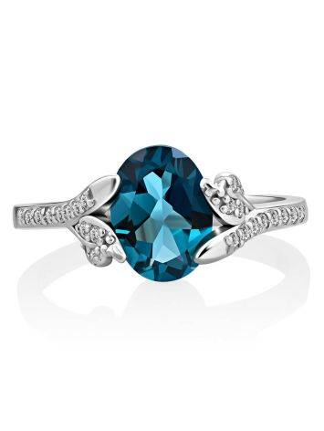 Amazing Silver Ring With Topaz London Blue, Ring Size: 6 / 16.5, image , picture 3