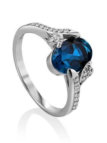 Amazing Silver Ring With Topaz London Blue, Ring Size: 6 / 16.5, image