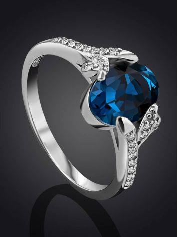 Amazing Silver Ring With Topaz London Blue, Ring Size: 6 / 16.5, image , picture 2