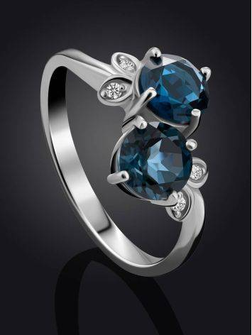 Exquisite Silver Ring With Topaz London Blue, Ring Size: 9 / 19, image , picture 2