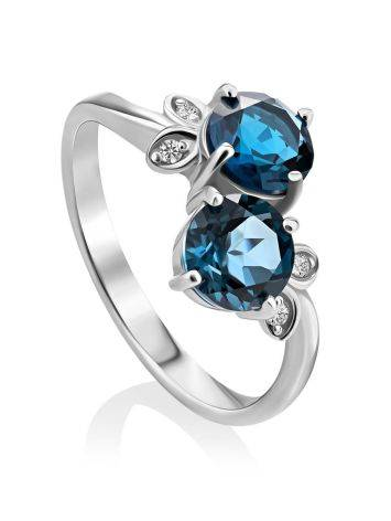 Exquisite Silver Ring With Topaz London Blue, Ring Size: 9 / 19, image