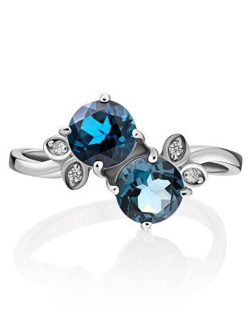 Exquisite Silver Ring With Topaz London Blue, Ring Size: 9 / 19, image , picture 3