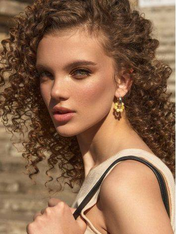 Boho Chic Silver Hoops With Honey Amber The Palazzo, image , picture 5