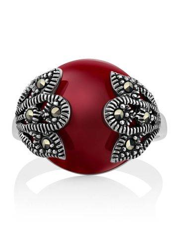 Art Deco Style Silver Agate Ring With Marcasites The Lace, Ring Size: 8 / 18, image , picture 3