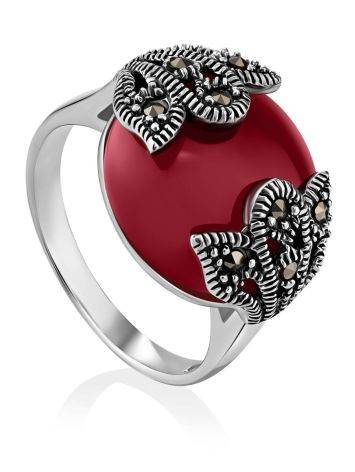 Art Deco Style Silver Agate Ring With Marcasites The Lace, Ring Size: 8 / 18, image