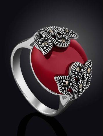 Art Deco Style Silver Agate Ring With Marcasites The Lace, Ring Size: 8 / 18, image , picture 2