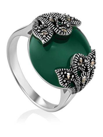 Art Deco Style Silver Agate Ring With Marcasites The Lace, Ring Size: 6.5 / 17, image