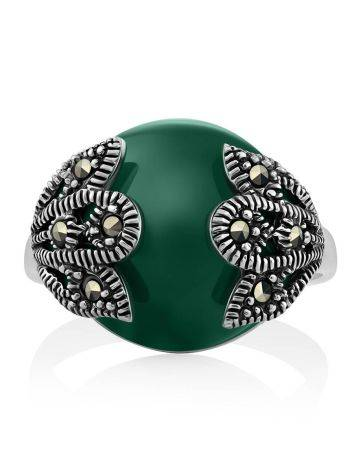 Art Deco Style Silver Agate Ring With Marcasites The Lace, Ring Size: 6.5 / 17, image , picture 3
