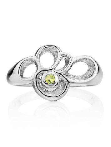Abstract Design Silver Chrysolite Ring, Ring Size: 7 / 17.5, image , picture 3