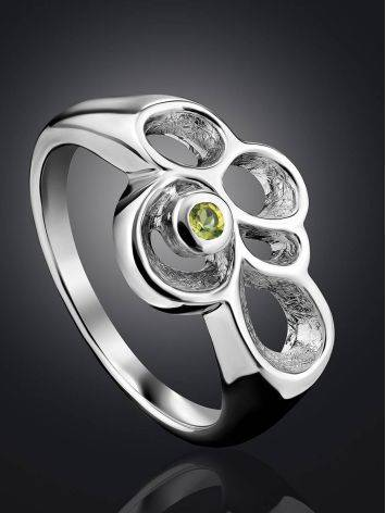 Abstract Design Silver Chrysolite Ring, Ring Size: 7 / 17.5, image , picture 2