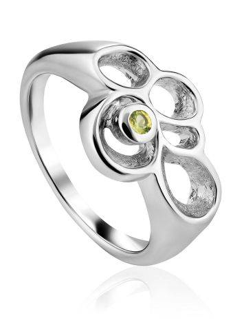 Abstract Design Silver Chrysolite Ring, Ring Size: 7 / 17.5, image