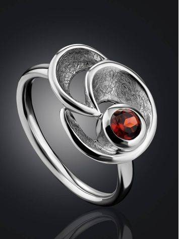 Stylish Silver Garnet Ring, Ring Size: 8.5 / 18.5, image , picture 2