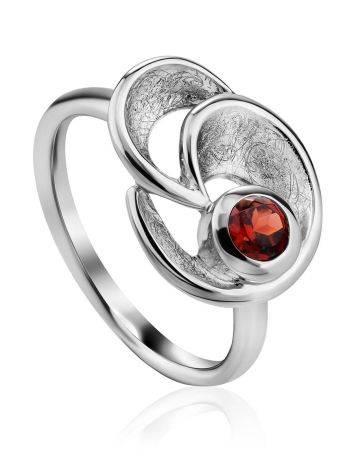 Stylish Silver Garnet Ring, Ring Size: 8.5 / 18.5, image