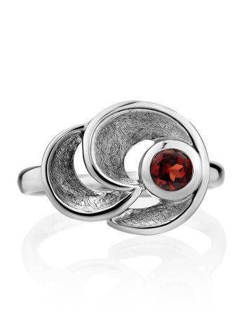 Stylish Silver Garnet Ring, Ring Size: 8.5 / 18.5, image , picture 3